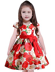 cheap -Girl's Floral Dress,Cotton Polyester Short Sleeves Casual Blue Red