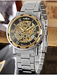WINNER Men's Dress Watch Wrist watch Mechanical Watch Automatic self-winding Hollow Engraving Stainless Steel Band Luxury Vintage Casual