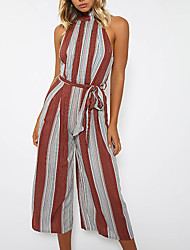 cheap -Women's Event/Party Casual Sexy Striped Color Block Halter JumpsuitsWide Leg Sleeveless Summer Fall Polyester