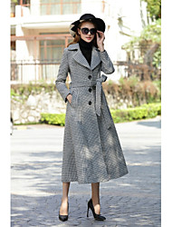 cheap -Women's Daily Work Simple Vintage Casual Street chic Winter Fall Coat,Houndstooth Shirt Collar Long Sleeves Long Cashmere Wool Polyester