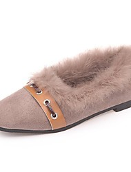 cheap -Women's Shoes Suede Winter Moccasin Flats Square Toe For Casual Khaki Black