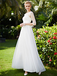 cheap -A-Line Illusion Neck Ankle Length Tulle Over Lace Made-To-Measure Wedding Dresses with Appliques / Bow(s) / Sashes / Ribbons by LAN TING