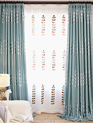 Pencil Pleat Double Pleat Grommet Top Curtain Contemporary Casual , Floral Polyester Blend Material Blackout Curtains Drapes Home