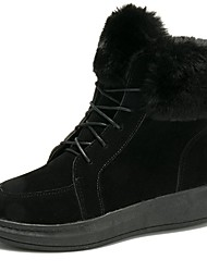 Women's Shoes PU Winter Fur Lining Comfort Fashion Boots Boots Round Toe Booties/Ankle Boots For Casual Green Gray Black