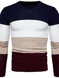 preiswerte -Herrn Gestreift Lässig/Alltäglich Arbeit Pullover Pullover Langarm V-Ausschnitt Winter Polyester