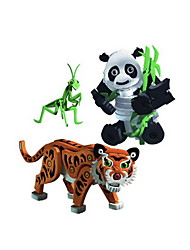 cheap -Building Blocks 3pcs Tiger Animal DIY Outfits Mix & Match Sets Animals Toy Gift