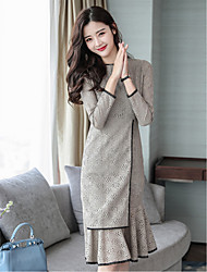 cheap -Women's Daily Going out Street chic Trumpet/Mermaid Dress,Solid Round Neck Knee-length Long Sleeve Polyester Winter Fall High Waist