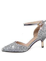 Femme Chaussures à Talons Confort Nouveauté Similicuir Eté Automne Décontracté Habillé Talon Bas Or Argent 5 à 7 cm
