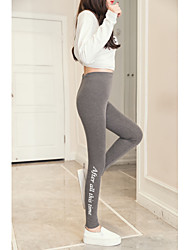 cheap -Women's Daily Plus Size Sporty Legging - Letter, Print Mid Waist / Spring / Summer / Fall / Skinny