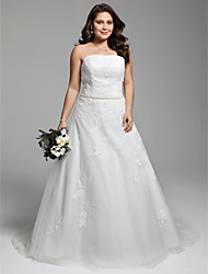 cheap -A-Line Strapless Court Train Tulle Over Lace Made-To-Measure Wedding Dresses with Beading / Appliques / Sash / Ribbon by LAN TING BRIDE®