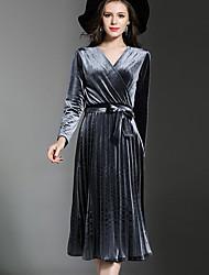 baratos -Mulheres Bainha Vestido Sólido Decote V Cintura Alta Médio / Outono