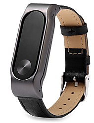 cheap -For Xiaomi Miband 2 Stainless Steel Metal Case with a Genuine Leather Watch Strap