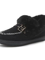 Недорогие -Жен. Обувь Кашемир Зима Зимние сапоги Ботинки Круглый носок Ботинки Стразы для Повседневные Черный Хаки