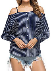 cheap -Women's Daily Going out Boho Street chic Autumn Spring T-shirt,Striped Boat Neck Long Sleeves Cotton Medium