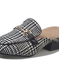 abordables -Femme Chaussures Cachemire Hiver Confort Sabot & Mules Bout rond Strass Pour Décontracté Gris Noir et Or Noir/blanc