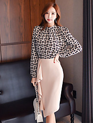 cheap -Women's Daily Vintage Sexy Winter Fall Blouse Skirt Suits,Solid Color Block Round Neck Long Sleeves Nylon