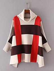 Для женщин На выход На каждый день Обычный Пуловер Контрастных цветов В клетку,Хомут Длинный рукав Шерсть Хлопок Другое Средняя Толстая