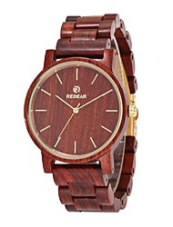 cheap -Men's Quartz Wrist Watch Japanese Wooden Wood Band Dress Watch Wood Minimalist Elegant Red