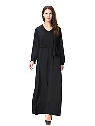 cheap -Women's Party Casual/Daily Simple Abaya Kaftan Dress,Solid V Neck Midi Long Sleeve Polyester Spandex All Season Mid Rise High Elasticity