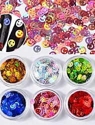 cheap -6 Box Multi-color Nail Art Sequins Laser Colorful Decoration Nail Art Design 1g/box
