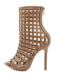 Feminino Sapatos Linho Couro Ecológico Todas as Estações Conforto Inovador Botas da Moda Curta/Ankle Botas Peep Toe Botas Curtas / Ankle