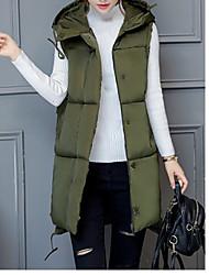 Dámské S vycpávkou Jednoduchý Jdeme ven Běžné/Denní Jednobarevné-Kabát Polyester Bez rukávů