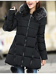 Недорогие -Пальто На каждый день Длинная Пуховик Для женщин,Однотонный Повседневные Хлопок Длинные рукава