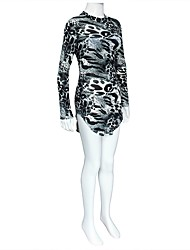 cheap -Women's Party Club Bodycon Dress,Leopard Crew Neck Mini Long Sleeves Polyester Spring/Fall High Rise Stretchy Thin