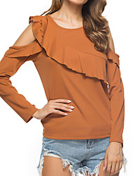 cheap -Women's Daily Going out Boho Street chic Autumn Spring Blouse,Solid Round Neck Long Sleeves Cotton Medium