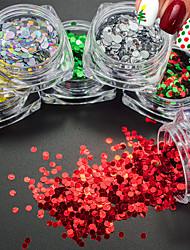 1 g / bouteille de mode de noël rouge vert 3d paillettes rondes paillettes nail art brillant noël paillette décoration de nouvel an ongles