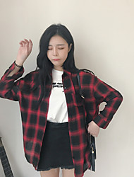 cheap -Women's Daily Active Autumn Shirt,Check Shirt Collar Long Sleeves Cotton Medium