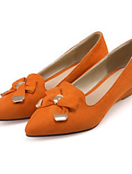 cheap -Women's Shoes Suede Spring Fall Comfort Novelty Flats Pointed Toe Bowknot Rivet For Party & Evening Dress Brown Light Yellow Orange Black