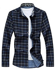 baratos -Masculino Camisa Social Casual Tamanhos Grandes Temática Asiática Outono Inverno,Xadrez Algodão Poliéster Decote Quadrado Manga Longa