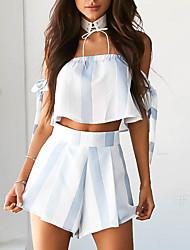 baratos -Mulheres Vintage Casual Curto Blusa Listrado Estampa Colorida Calça Decote Canoa