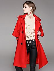 baratos -Mulheres Longo Casaco Diário Para Noite Moda de Rua Inverno Outono, Sólido Poliéster Elastano Colarinho de Camisa