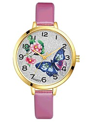 cheap -Women's Wrist watch Chinese Quartz Large Dial PU Band Flower Casual Elegant Colorful Black White Blue Red Brown Pink Purple Rose Sky Blue