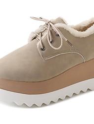 Feminino Sapatos Borracha Inverno Conforto Oxfords Ponta Redonda Para Preto Rosa claro Amêndoa