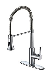 cheap -Contemporary Classic Style Deck Mounted Pullout Spray Widespread Pull out Chrome, Kitchen faucet