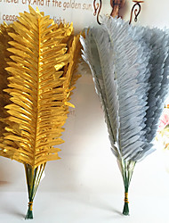 35cm 10 Pcs Golden / Silver Home Decoration Artificial Iron leaves Fan Shape Grasses