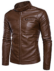 cheap -Men's Daily Street chic Winter Fall Leather Jackets,Solid Stand Long Sleeves Short PU