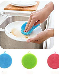 cheap -Silicone Dish Washing Sponge Scrubber Soft Cleaning Antibacterial Brush Kitchen Tools(Random Color)