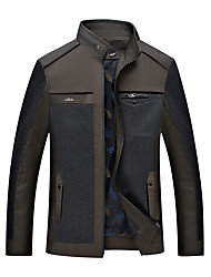 cheap -Men's Basic Cotton Jacket - Solid Colored, Patchwork Stand