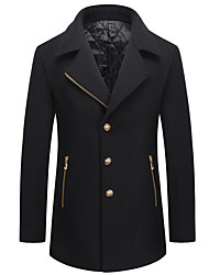cheap -Men's Wool Coat - Solid Colored