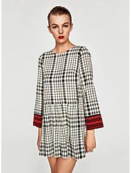 cheap -Women's Daily Sheath Dress,Plaid Round Neck Above Knee Long Sleeve Polyester Winter Medium Waist Inelastic Opaque