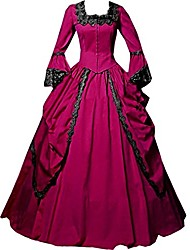 cheap -One-Piece/Dress Party Costume Masquerade Steampunk® Elegant Lace-up Victorian Cosplay Lolita Dress Fuschia Dark Green Light Purple Green
