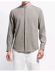 cheap -Men's Daily Chinoiserie Shirt,Solid Stand Long Sleeves Linen