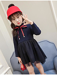 cheap -Girl's Solid Dress,Cotton Polyester Casual Navy Blue