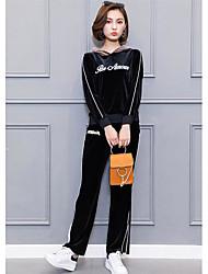 economico -Set Pantalone Completi abbigliamento Da donna Casual Semplice Inverno,Tinta unita Rotonda Poliestere Manica lunga