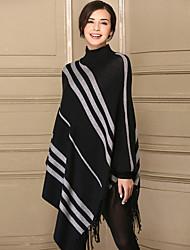 Lungo Cloak / Capes Da donna-Casual Semplice A strisce A collo alto Manica lunga Acrilico Spesso Elasticizzato