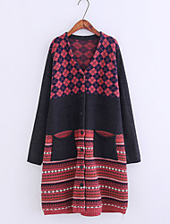 Women's Going out Casual/Daily Simple Cute Street chic Long Cardigan,Print V Neck Long Sleeves Wool Acrylic Spring Winter Thin Medium